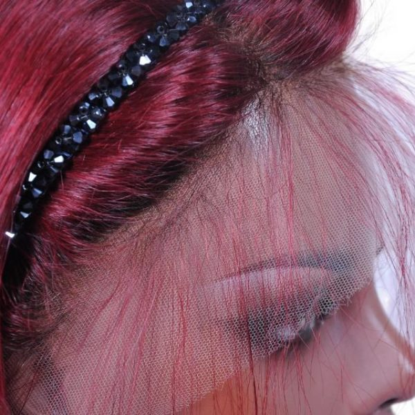 Alethea short red wig lace close up