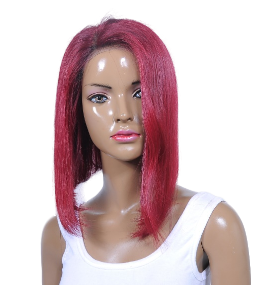 Alethea short red wig side view