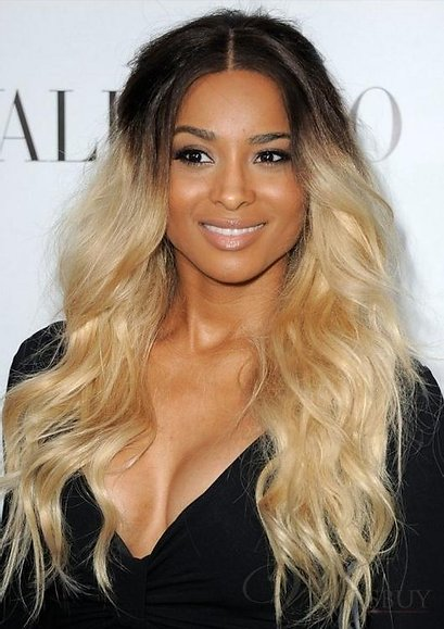 Ciara with long, blonde ombre hair