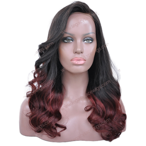Burgundy Curled Wig