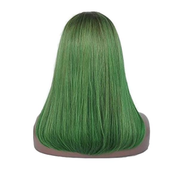 Delilah green straight wig back