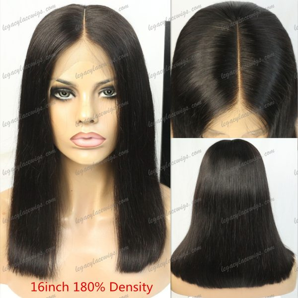Kim Kardashian celebrity style wig front, top, and back view
