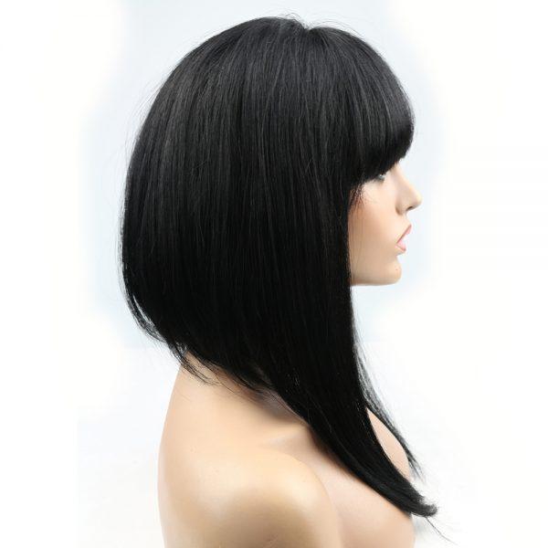 Minaj long wig with bangs in profile
