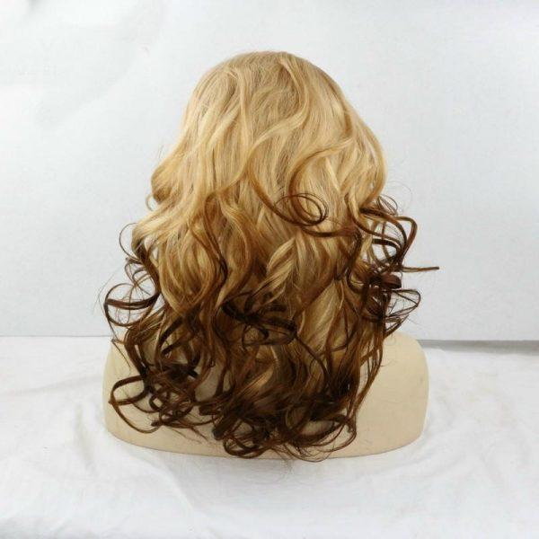 Olivia blonde to natural ombre wig back
