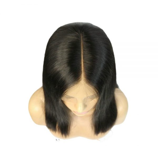 Queen long straight wig top view