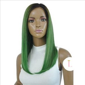 delilah striaght green wig