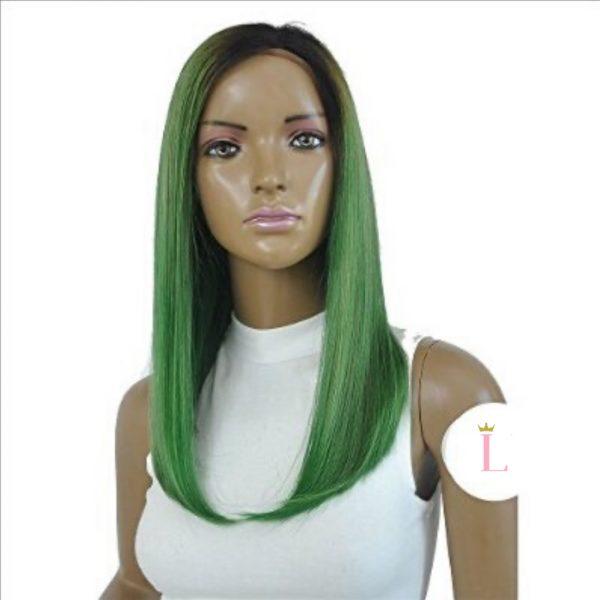 delilah striaght green wig